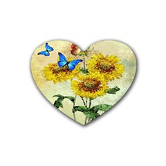 Backdrop Colorful Butterfly Rubber Coaster (Heart)