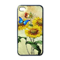 Backdrop Colorful Butterfly Apple iPhone 4 Case (Black)