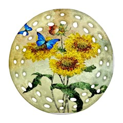 Backdrop Colorful Butterfly Round Filigree Ornament (Two Sides)