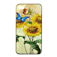 Backdrop Colorful Butterfly Apple iPhone 4/4s Seamless Case (Black)