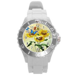 Backdrop Colorful Butterfly Round Plastic Sport Watch (l)