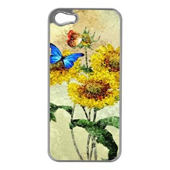 Backdrop Colorful Butterfly Apple iPhone 5 Case (Silver)