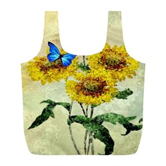 Backdrop Colorful Butterfly Full Print Recycle Bags (L)
