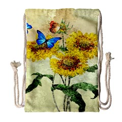Backdrop Colorful Butterfly Drawstring Bag (large)
