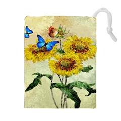 Backdrop Colorful Butterfly Drawstring Pouches (Extra Large)