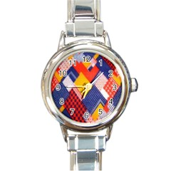 Background Fabric Multicolored Patterns Round Italian Charm Watch