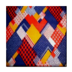 Background Fabric Multicolored Patterns Tile Coasters