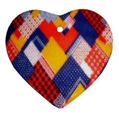 Background Fabric Multicolored Patterns Ornament (Heart)