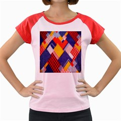 Background Fabric Multicolored Patterns Women s Cap Sleeve T-Shirt