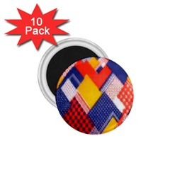 Background Fabric Multicolored Patterns 1.75  Magnets (10 pack)