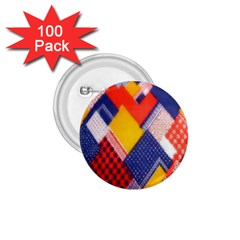 Background Fabric Multicolored Patterns 1.75  Buttons (100 pack)