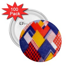 Background Fabric Multicolored Patterns 2.25  Buttons (100 pack)