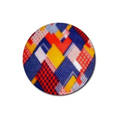 Background Fabric Multicolored Patterns Rubber Coaster (Round)