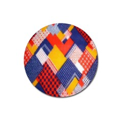 Background Fabric Multicolored Patterns Magnet 3  (Round)