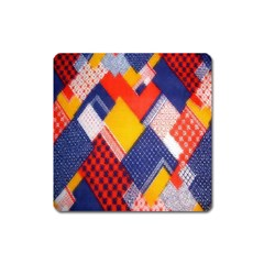 Background Fabric Multicolored Patterns Square Magnet