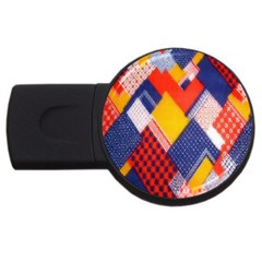 Background Fabric Multicolored Patterns USB Flash Drive Round (1 GB)