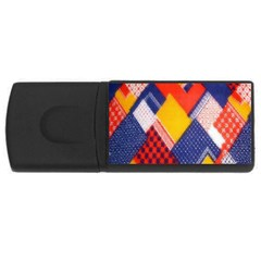 Background Fabric Multicolored Patterns USB Flash Drive Rectangular (1 GB)
