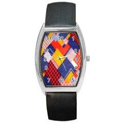 Background Fabric Multicolored Patterns Barrel Style Metal Watch