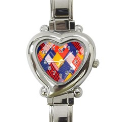 Background Fabric Multicolored Patterns Heart Italian Charm Watch