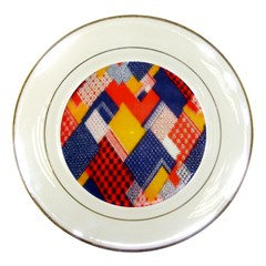 Background Fabric Multicolored Patterns Porcelain Plates