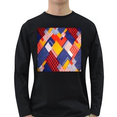 Background Fabric Multicolored Patterns Long Sleeve Dark T Shirts