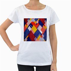 Background Fabric Multicolored Patterns Women s Loose-Fit T-Shirt (White)