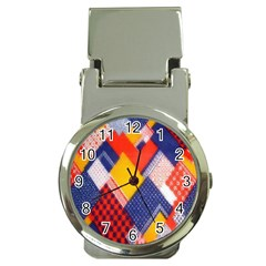 Background Fabric Multicolored Patterns Money Clip Watches