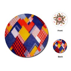 Background Fabric Multicolored Patterns Playing Cards (round)