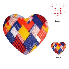 Background Fabric Multicolored Patterns Playing Cards (heart)