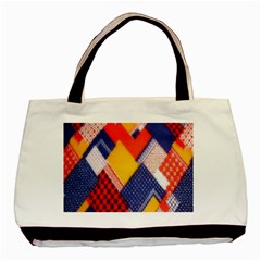Background Fabric Multicolored Patterns Basic Tote Bag
