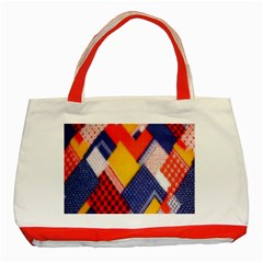 Background Fabric Multicolored Patterns Classic Tote Bag (red)
