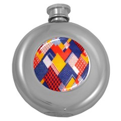 Background Fabric Multicolored Patterns Round Hip Flask (5 oz)