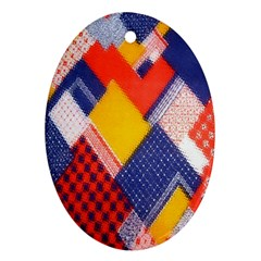 Background Fabric Multicolored Patterns Oval Ornament (Two Sides)