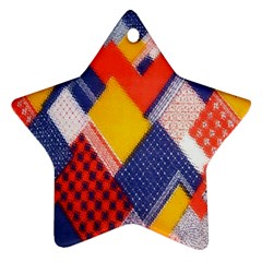Background Fabric Multicolored Patterns Star Ornament (Two Sides)