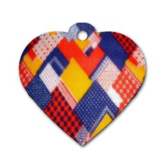 Background Fabric Multicolored Patterns Dog Tag Heart (two Sides)