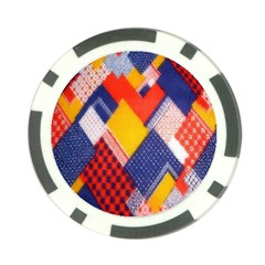 Background Fabric Multicolored Patterns Poker Chip Card Guard