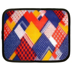 Background Fabric Multicolored Patterns Netbook Case (Large)