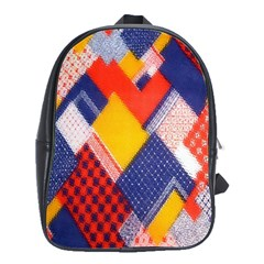 Background Fabric Multicolored Patterns School Bags(large)