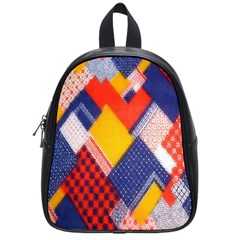 Background Fabric Multicolored Patterns School Bags (Small)