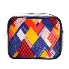 Background Fabric Multicolored Patterns Mini Toiletries Bags