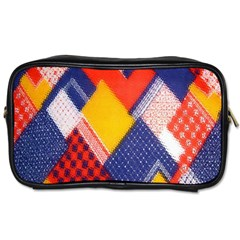 Background Fabric Multicolored Patterns Toiletries Bags