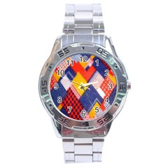 Background Fabric Multicolored Patterns Stainless Steel Analogue Watch