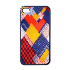 Background Fabric Multicolored Patterns Apple iPhone 4 Case (Black)