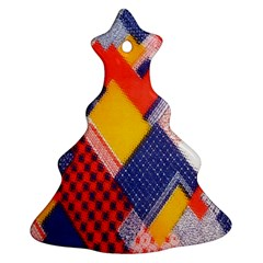 Background Fabric Multicolored Patterns Christmas Tree Ornament (Two Sides)