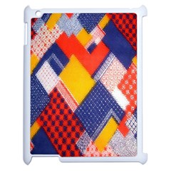 Background Fabric Multicolored Patterns Apple iPad 2 Case (White)