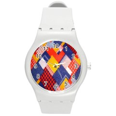 Background Fabric Multicolored Patterns Round Plastic Sport Watch (M)