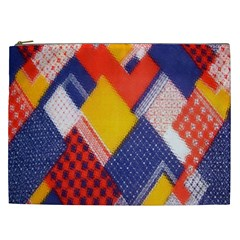 Background Fabric Multicolored Patterns Cosmetic Bag (xxl)