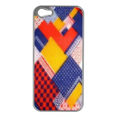 Background Fabric Multicolored Patterns Apple Iphone 5 Case (silver)