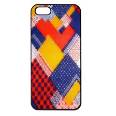 Background Fabric Multicolored Patterns Apple Iphone 5 Seamless Case (black)