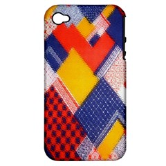 Background Fabric Multicolored Patterns Apple iPhone 4/4S Hardshell Case (PC+Silicone)